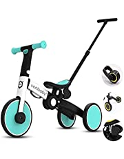 Trike Tricycle Trike Kids Trikes Pedal Cars Childrens Tricycle with Removable Lengthen Parents Push Handle for 1-6-Year-old Boys Girls Foldable Adjustable Comfortable (Color : Yellow)