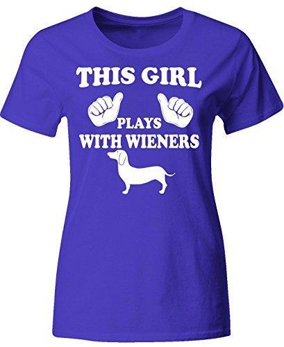 This Girl Plays With Wiener Dachshund - Ladies T-shirt Ladies M Royal