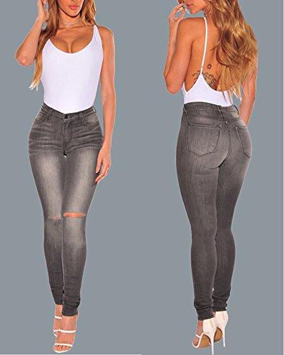 Stretti Strappato Alta Vita Donna Lungo Pantaloni Ripped Come Skinny Jeans A Immagine Legging ad6vSqw