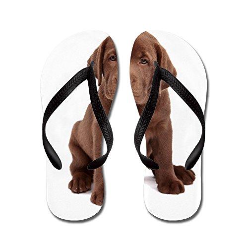 CafePress Chocolate Labrador Puppy - Flip Flops, Funny Thong Sandals, Beach Sandals Black