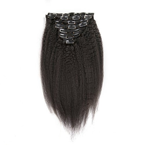 16 Inch Afro Kinky Straight Clip in Hair Extensions Clip Ins Coarse Yaki Brazilian Remy Human Hair for Black Women Natural Color 8 pieces 70g/One Set (16