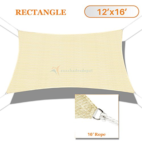 Canopy One Piece (Sunshades Depot 12' x 16' Sun Shade Sail Rctangle Permeable Canopy Tan Beige Custom Size Available Commercial Standard 180 GSM HDPE)