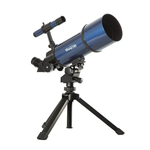 Blue TwinStar AstroMark 80mm 16-40x Power Portable Refractor Telescope Top