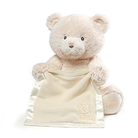 Gund Baby My First Teddy Bear Peek A Boo Animated Baby Stuffed Animal, Cream - Gund White Teddy Bear