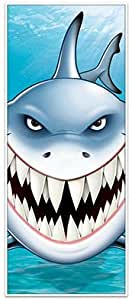"Scary Shark Attack Door Cover - Banner - 30"" X 60"" Ocean Shark Tank Week Party Decor Decorations"