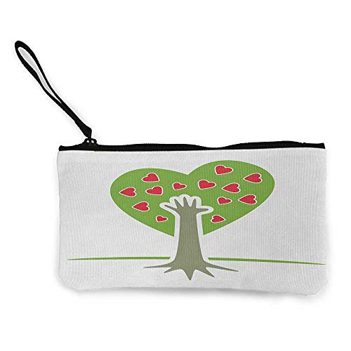 Coin wallet Tree of Life,Eco Friendly Cute Symbolic Tree with Hand and Heart Flower Nature Decor,Green White Red W8.5