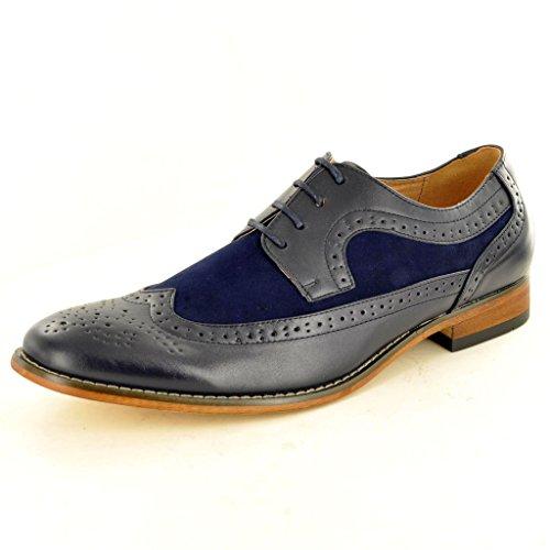 Zweifarbige, mit Leder gefütterte Herren-Halbschuhe, formale Schnürschuhe Marineblau