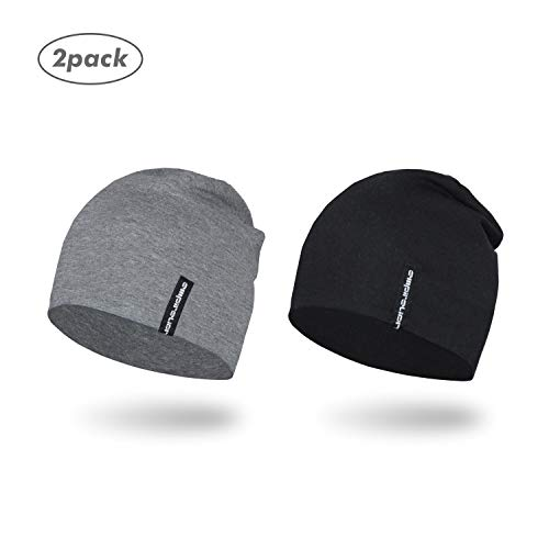 Empirelion Slouch Beanies Knit Hat Thin Running Lightweight Skull Cap for Men Women (Black+Mid Grey Melange)