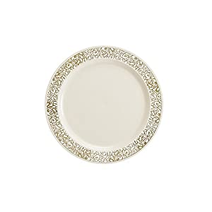 Party Bargains Ivory Gold Plastic Plate | Elegant Gold Lace Rim u0026 Durable Lace Collection Disposable Plates Perfect for Wedding and Party Dinnerware - 6 ...  sc 1 st  Amazon.com & Amazon.com: Party Bargains Ivory Gold Plastic Plate | Elegant Gold ...