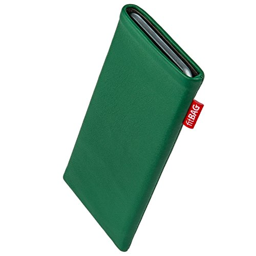 fitBAG Beat Green custom tailored sleeve for ARCHOS 40 Cesium. Fine nappa leather pouch with integrated microfibre lining for display cleaning