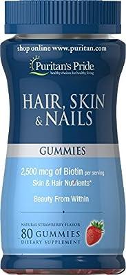 Puritan's Pride Hair/Skin and Nail Gummies, 80 Count