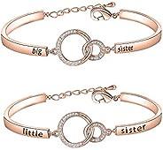 BNQL Sorority Big Sister Little Sister Bracelets Sisters Gift CZ Interlocking Circles Jewelry