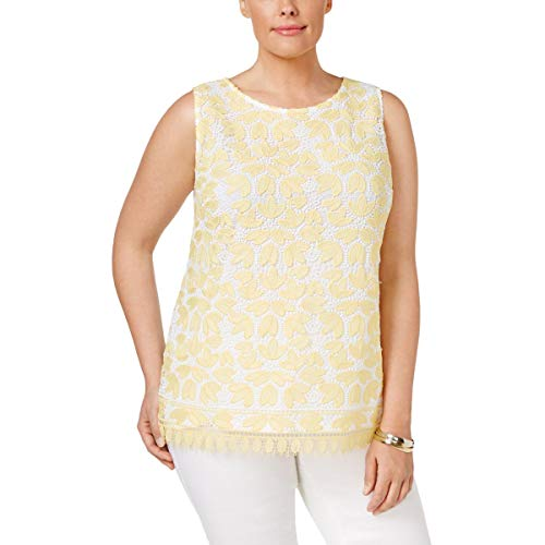 Charter Club Womens Plus Lace Mixed Media Tank Top White 1X from Charter Club