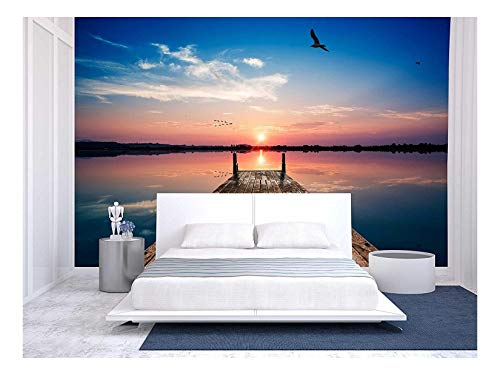 (wall26 - Perspective View of a Wooden Pier on The Pond at Sunset with Perfectly Specular Reflection - Removable Wall Mural | Self-Adhesive Large Wallpaper - 100x144 inches)