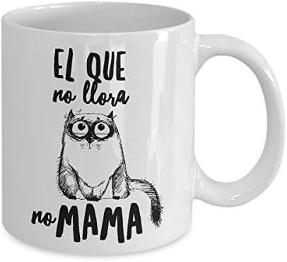 Taza de Cafe Chistosa de Gato ; Mug in Spanish ; Humor Latino Gift