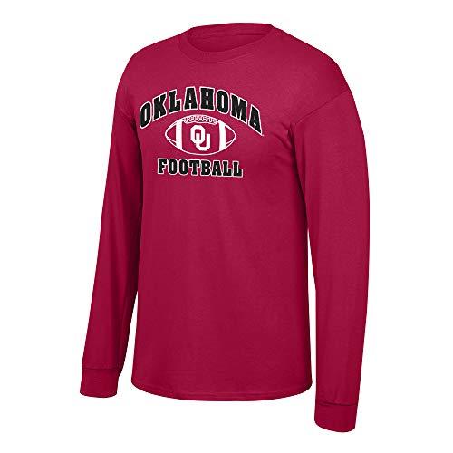Elite Fan Shop NCAA Men's Oklahoma Sooners Football Long Sleeve T-shirt Team Color Oklahoma Sooners Crimson XX Large