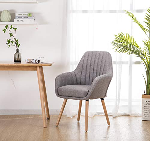 YEEFY Contemporary Modern Muted Fabric Accent Arm Chair and Soft Padded Shell Chair with Solid Wood Legs (Grey)