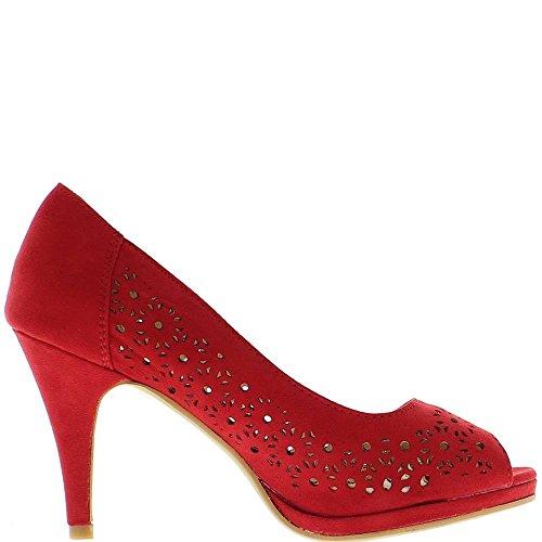 Abierto rojo zapatos de tacón bombas de 9cm y meseta