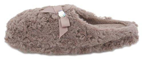 Slumberzzz Damen Lockig Kunstpelz Pantoffeln mit Strass Schleife - Braun, EU 35,5-37