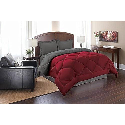 Elegant Comfort Goose Down Alternative Reversible 3pc Comforter Set, King/Cal  King, Red/Gray