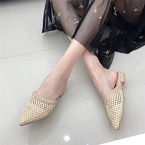 A Hecho 40 En Verano Zapatos Zapatillas Sandalias Tacón Mujer De apricot Cuero Tejeduría Retro Mano Punta Cabeza Respirable Durable Hueco Bajo Antideslizante pqCEtC1wP