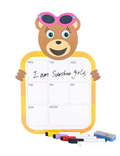 Kids Magnetic Dry Erase Planner Calendar for Refrigerator with Headwear Dress-up DIY Expression Element + A4 Organize to do List Board, Christmas,Birthday,Develop Intelligence Toy Gifts -