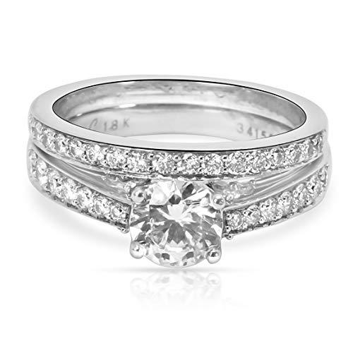 (Simon G Diamond Engagement Wedding Set in 18K White Gold)