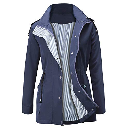 Jasambac Rain Jacket Women Waterproof Hooded Raincoat Lightweight Trench Coats Active Outdoor Windbreaker