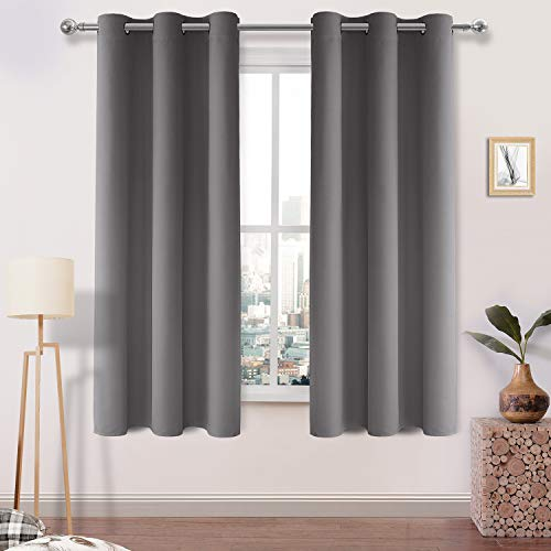 DWCN Blackout Curtains Room Darkening Thermal Insulated Grommet Top Window Curtains Light Blocking Drapes for Bedroom 42 x 63 Inch,1 Panel, Grey