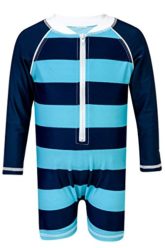 Snapper Rock Baby UV50+ Long Sleeve Sunsuit (Navy Aqua Rugby Stripe, 0-6 Months) (Rocks Rugby)