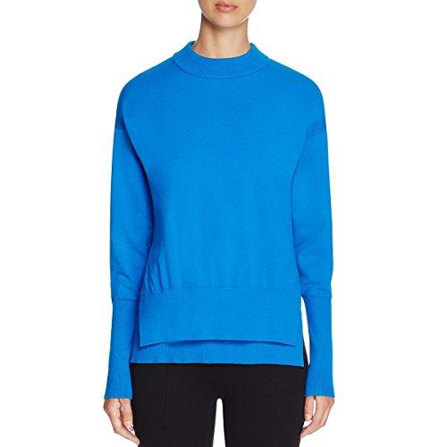 Dkny Wool Cardigan (DKNY Womens Crew Neck Ribbed Trim Crewneck Sweater Blue M)