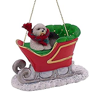 Conversation Concepts Old English Sheepdog Sleigh Ride Christmas Ornament - Delightful! 30