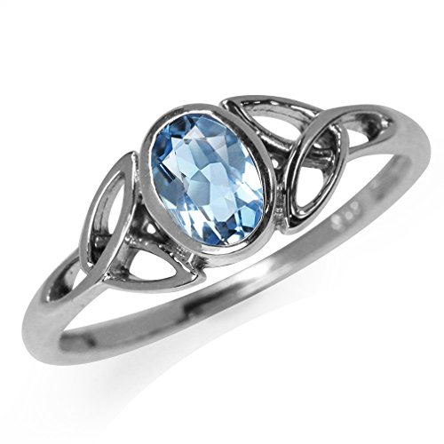 Genuine Blue Topaz 925 Sterling Silver Triquetra Celtic Knot Ring Size 10 (Blue Topaz Ring Size 10)