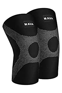 Mava OptimFlex Knee Support Compression Sleeves (Pair) for Running, Jogging,Workout, Walking, Hiking & Recovery - Compression for Joint Pain & Arthritis Relief (Large, Black & Grey)