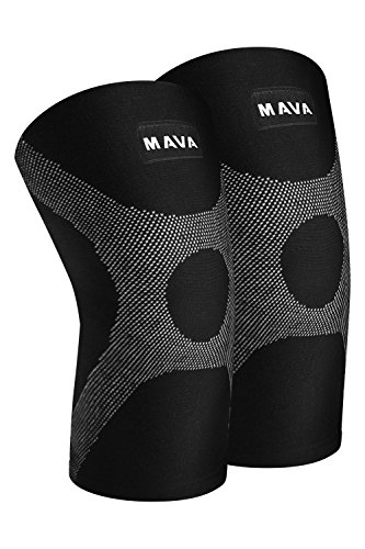 (Mava OptimFlex Knee Support Compression Sleeves (Pair) for Running, Jogging,Workout, Walking, Hiking & Recovery - Compression for Joint Pain & Arthritis Relief (XX-Large, Black & Grey))