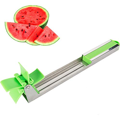 (2019 Novelty Windmill Melon Slicer Cutter Tongs Corer Stainless Steel Watermelon Cubes Slicer Cutter Knife Fruit Vegetable Tools Kitchen Gadgets)
