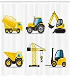 Abaysto Boy's Room Cartoon Style Heavy Machinery Truck Crane Digger Mixer Tractor Construction Yellow Grey Bathroom Decor Shower Curtain Sets with Hooks Polyester Fabric Great Gift
