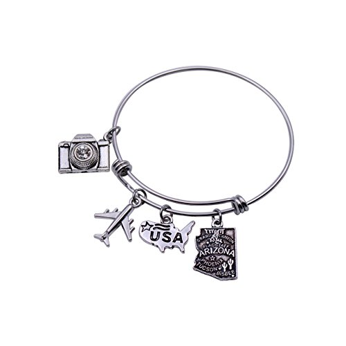 (DYbaby Travel Bracelet US Map Charm and State Map Charm Expandable Wire Bracelet Necessary Gift for Travellers (Arizona))