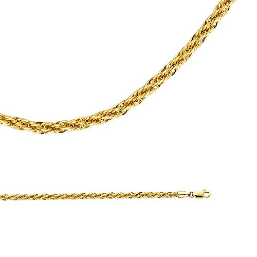 Gold Rope 14k Twisted (Solid 14k Yellow Gold Chain Rope Necklace Round Twisted Links Hollow Big Light Fancy 4 mm 24 inch)