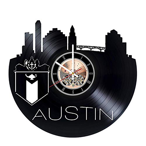 choma Austin Texas Vinyl Record Wall Clock - Living Room Wall Decor - Gift Ideas for Friends, Siblings – City Unique Art Design ()