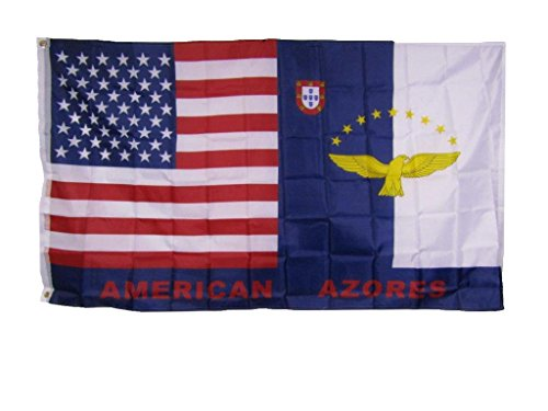 3x5 USA American Azores Friendship Combination Flag 3'x5' Banner Grommets House Banner Double Stitched Fade Resistant Premium Quality ()