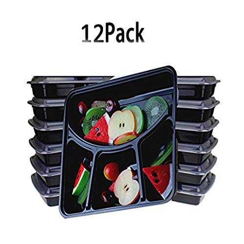 Bento Box,12 Pack Meal Prep Containers,4-Compartment Food Storage Containers,Stackable Reusable Microwave Dishwasher Freezer Safe Bento Lunch Box with Lids By Meleg Otthon (Compartment Tray Four)