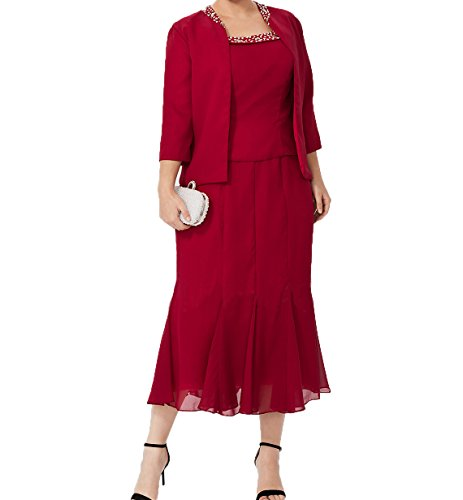 Jaket Chiffon Wadenlang Charmant Partykleider Rot Brautmutterkleider Etuikleider aus Ballkleider Damen Abendkleider Dunkel mit 8q5vqOw