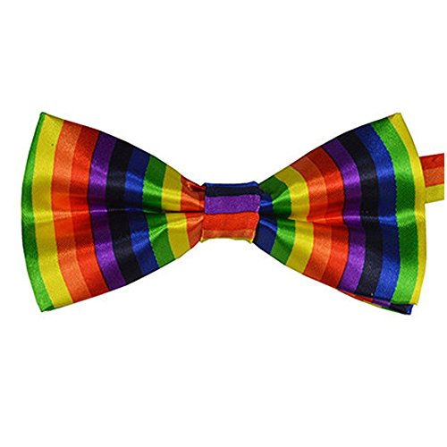 Silk Finish Fashion Bow Tie. Pre-tied Elastic Dicky for Weddings (Rainbow) -