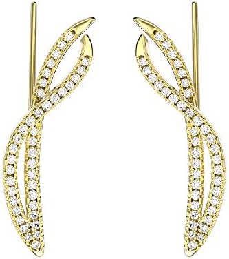 VAN LECONY 18K Gold or White Gold Plated Cubic Zirconia Intertwining Ear Cuffs