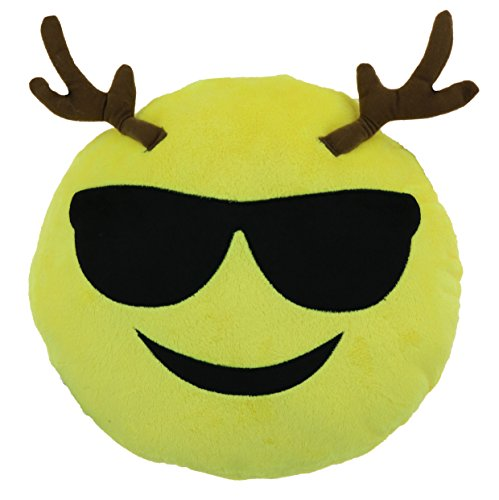 "Cool Guy Reindeer 9"" Emoji Christmas Throw Pillow 