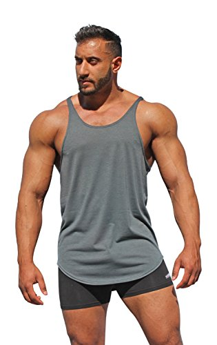 Physique Bodyware Men's Blank Y Back Stringer Tank Top. Made in USA. (Large, Grey)