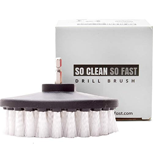 Non-Scratch Scrub Brush Drill Attachment - Clean Fiberglass Tub, Microfiber Upholstery, Auto Carpet, Boat Seat, Vinyl Floor 5X Faster - 5 Inch Diameter Soft White Bristle (Best Way To Clean Car Seats And Carpet)