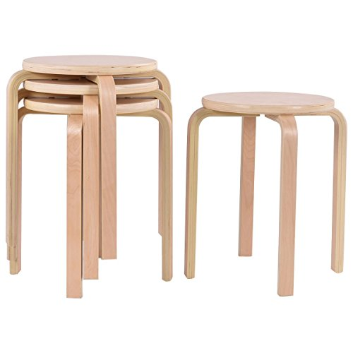 COSTWAY 17-inch Bentwood Stools Backless Round Top Stackable Wood Stool for Kitchen Home, garden, living and Class room Set of 4 by COSTWAY