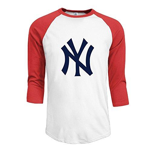 Men's Sportstyle 3/4 Sleeve Raglan Yankees Logo Baseball Tshirts Red L